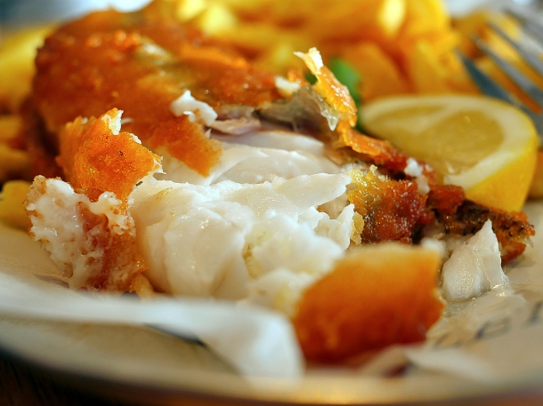 illustrative photo of the hake and chips at Rick Stein Fistral