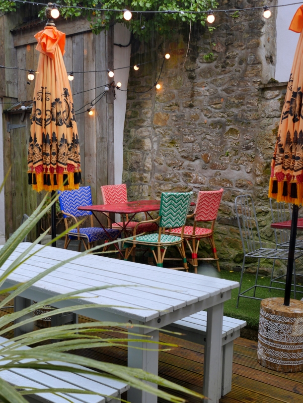 illustrative image of part of the outdoor dining area at Artists Residence Penzance