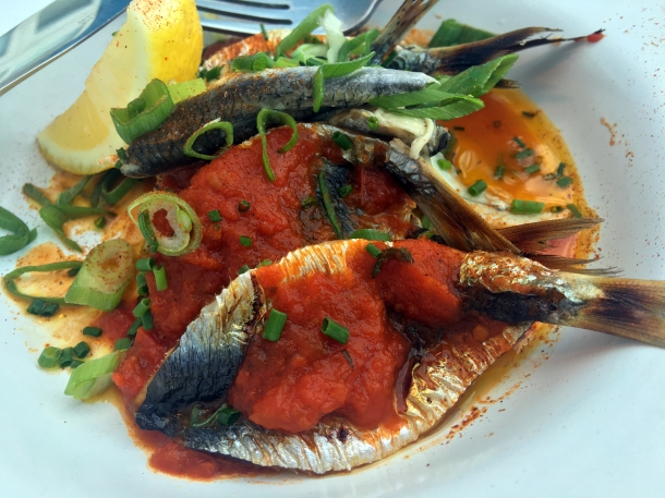 illustrative photo of the sardines with anchovies in tomato and oregano sauce at Mackerel Sky