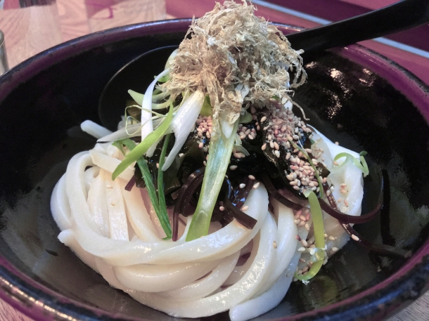 illustrative photo of the cold udon with cold sauce and seaweed at Koya City