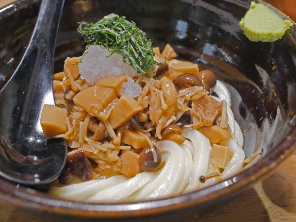 illustrative photo of the cold udon with mushrooms at Koya City