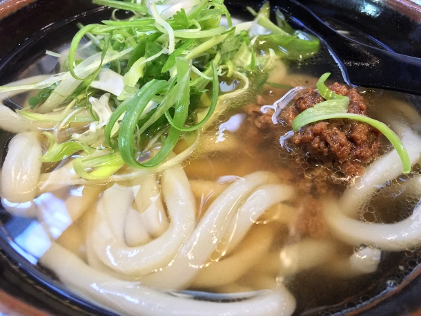 illustrative photo of the hot udon in hot broth with lamb at Koya City