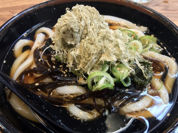 illustrative photo of the hot udon in hot broth with seaweed at Koya City