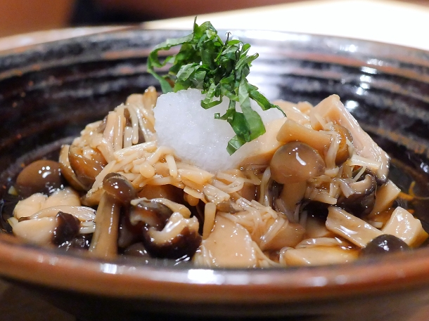 illustrative photo of the kinoko nametake marinated mushrooms at koya city
