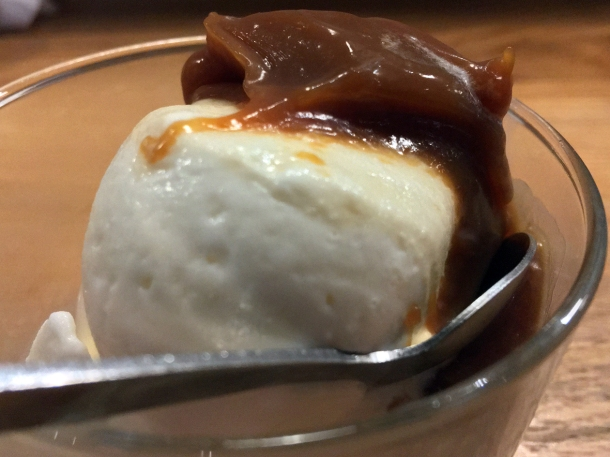 illustrative photo of the milk ice cream with salted caramel miso at Koya City