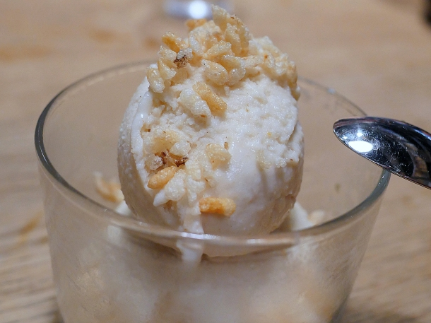 illustrative photo of the rice ice cream with toasted rice at Koya City