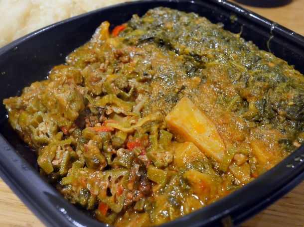 illustrative photo of the okra, spinach and potato curry from Kaieteur Kitchen