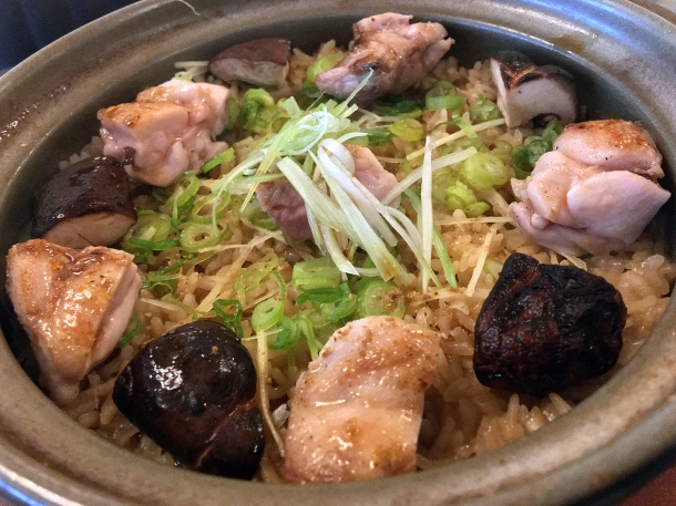 illustrative image of the chicken and mushroom donabe at Junsei
