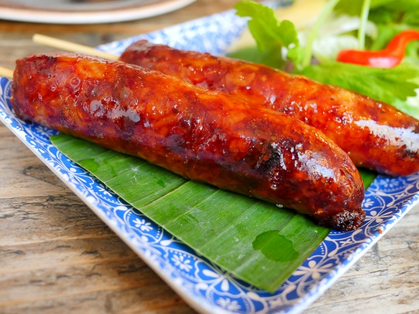 illustrative image of the fermented pork sausages at Lao Cafe