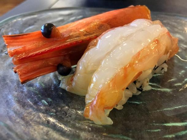 illustrative image of the raw ebi prawn at Junsei