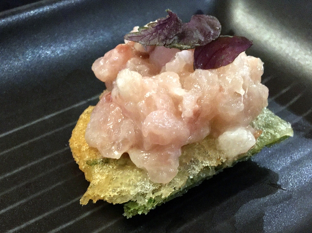 illustrative image of the red mullet on a cracker at Junsei