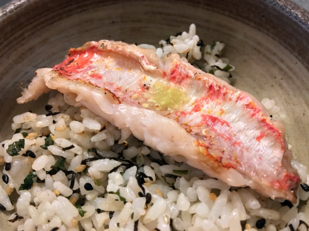 illustrative image of the red mullet on rice at Junsei