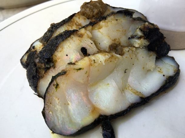 illustrative photo of the monkfish with seaweed butter bisque at Darby's