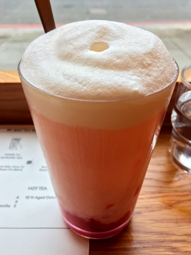 illustrative photo of the raspberry Yakult iced tea at Bao Noodle Shop
