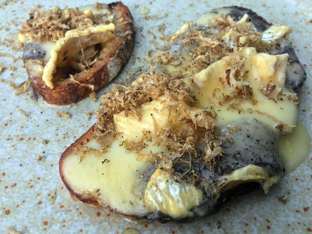 illustrative photo of the truffled Baron Bigod toast at Darby's