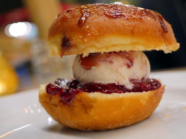 illustrative photo of the raspberry jam doughnut ice cream sandwich at Perry Hill Pub
