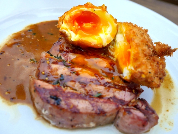 illustrative photo of the scotch egg with bacon loin at Perry Hill Pub